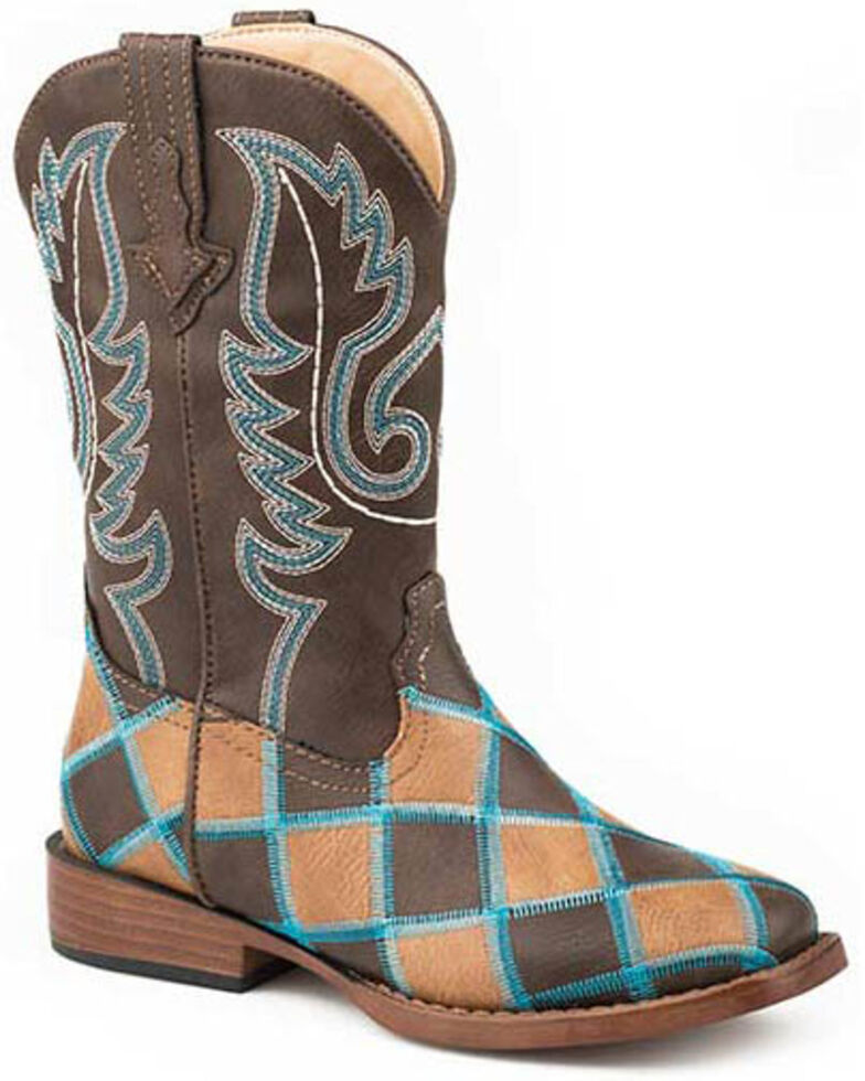 Roper Girls' Turquoise Stitching Western Boots - Square Toe, Tan, hi-res