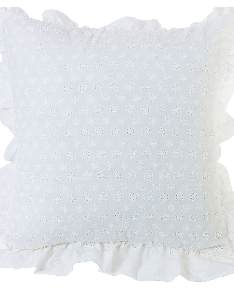 HiEnd Accents White Ruffled Flange Eyelet Pillow, White, hi-res