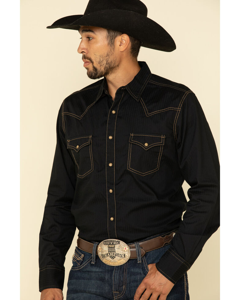 Wrangler Retro Premium Men's Black Solid Long Sleeve Western Shirt , Black, hi-res