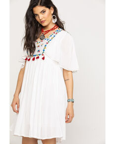 Miss Me Women's White Embroidered V-Neck Boho Tassel Dress, White, hi-res