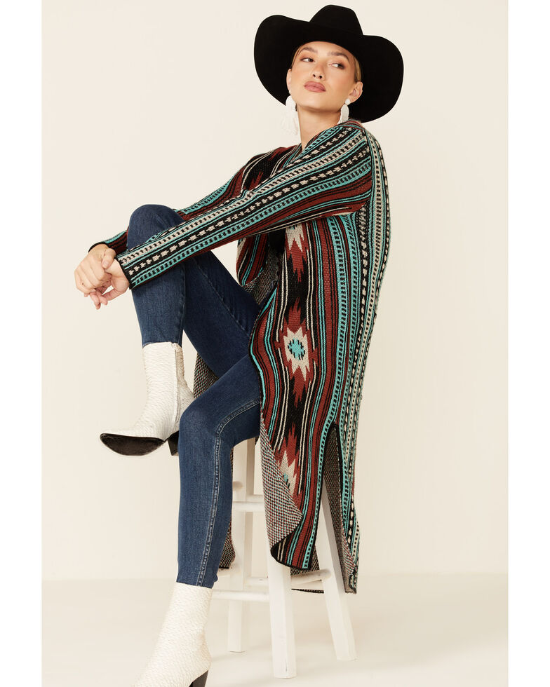 Rock & Roll Denim Women's Aztec Serape Long Sleeve Duster , Rust Copper, hi-res