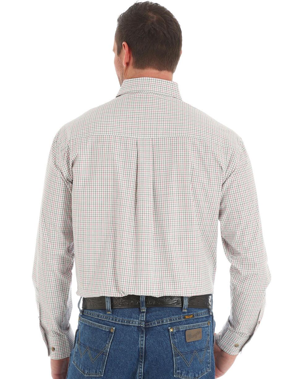 Wrangler George Strait Men's Olive Small Plaid Shirt, Olive, hi-res