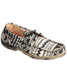 Twisted X Women's Black & White Aztec Boat Shoes - Moc Toe, Black, hi-res