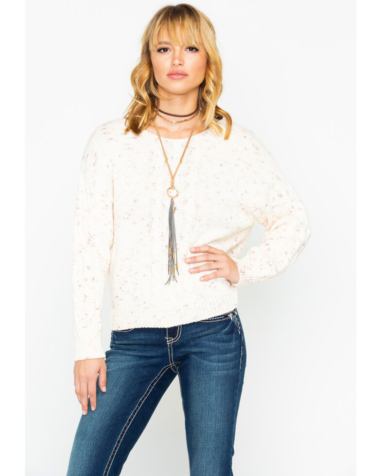Shyanne Women's Solid Marled Cable Knit Pullover Sweater , Ivory, hi-res