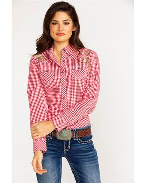 Ariat Women's REAL Hibiscus Small Plaid Long Sleeve Western Shirt , Coral, hi-res