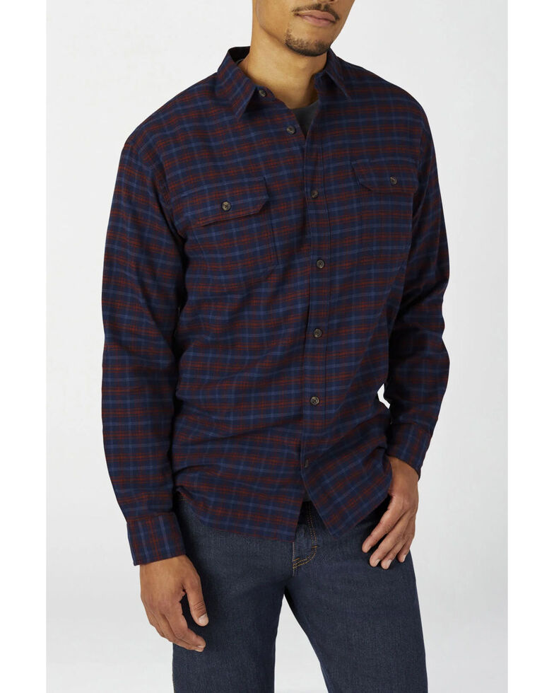 Dickies Men's Ink Navy Plaid Relaxed Flex Flannel Work Shirt - Big , Navy, hi-res