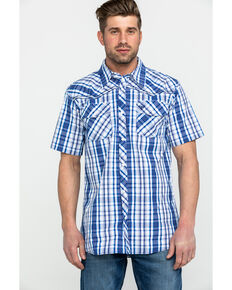Cowboy Hardware Men's Triple Plaid Short Sleeve Western Shirt , Navy, hi-res