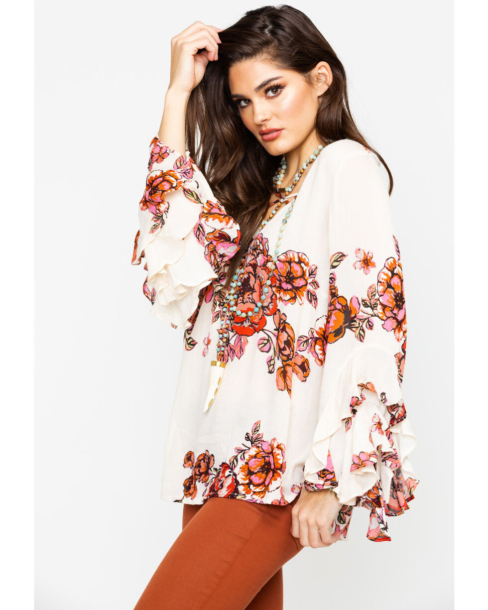 Tanzara Women's Floral Print Criss Cross Bell Sleeve Peasant Top , Ivory, hi-res