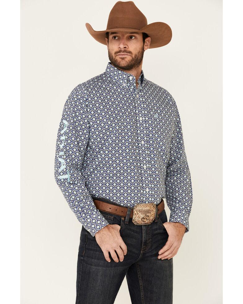Ariat Men's Kazz Aztec Print Team Logo Long Sleeve Western Shirt , Blue, hi-res