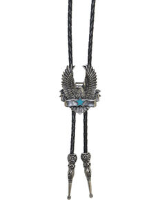 Western Express Star and Banner Eagle Bolo Tie, Silver, hi-res