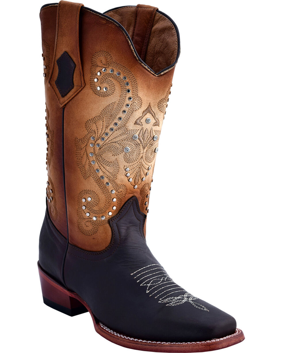 Ferrini Women's Studded Cowgirl Boots - Square Toe, Chocolate, hi-res