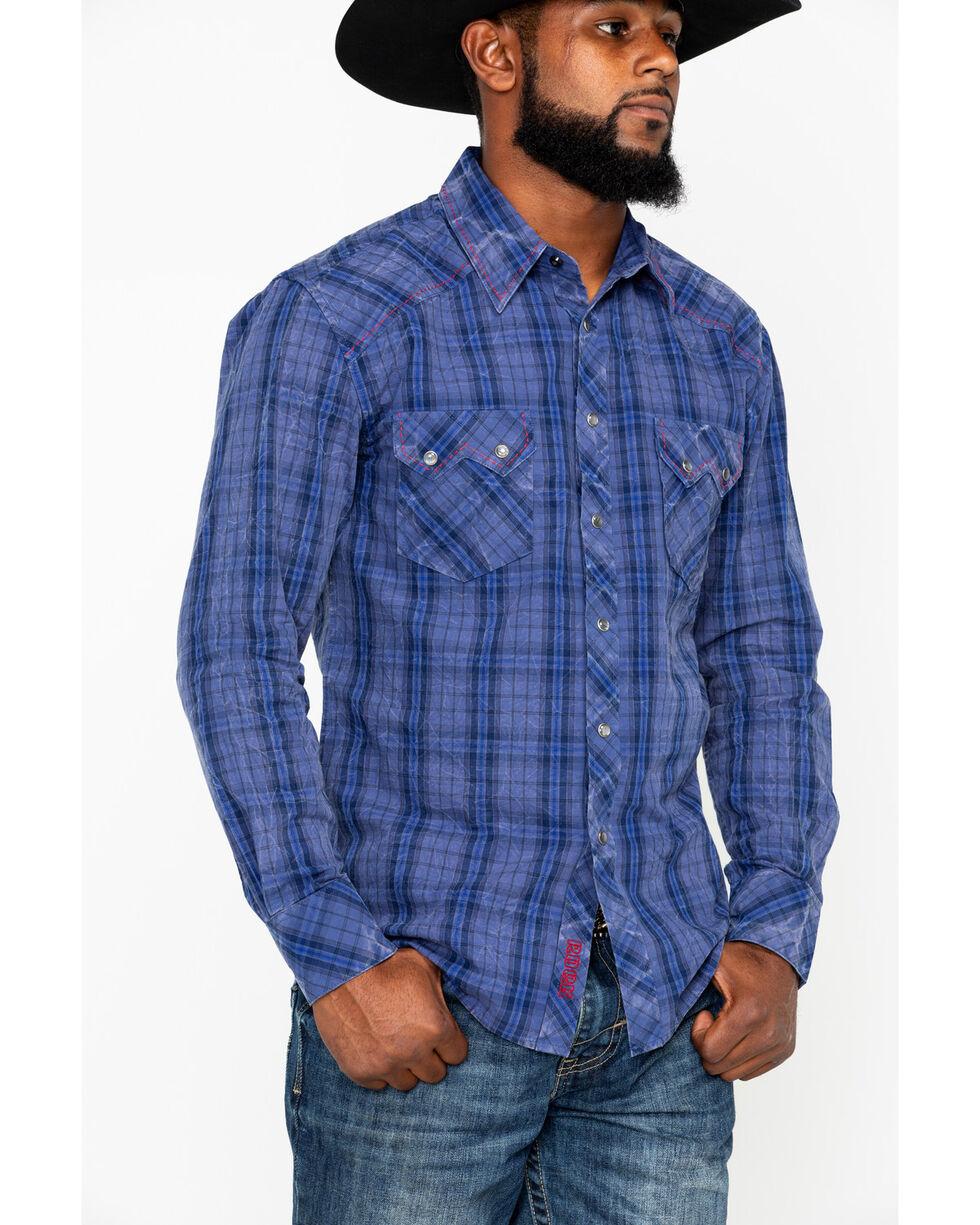 Rock & Roll Cowboy Men's Indigo Plaid Long Sleeve Western Shirt, Light Blue, hi-res