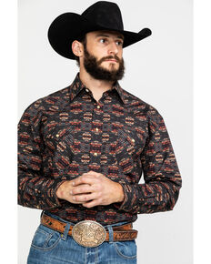 Rough Stock by Panhandle Men's Aguila Aztec Print Long Sleeve Western Shirt , Charcoal, hi-res
