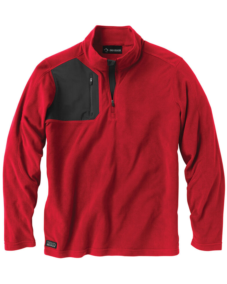 Dri Duck Men's Interval Quarter-Zip Fleece, Red, hi-res