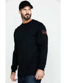 Ariat Men's FR Freedom Eagle Graphic Long Sleeve Work T-Shirt - Tall , Black, hi-res