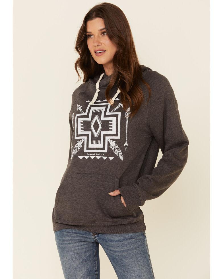 Cowgirl Tuff Women's Charcoal Aztec Graphic Hooded Sweatshirt, Charcoal, hi-res