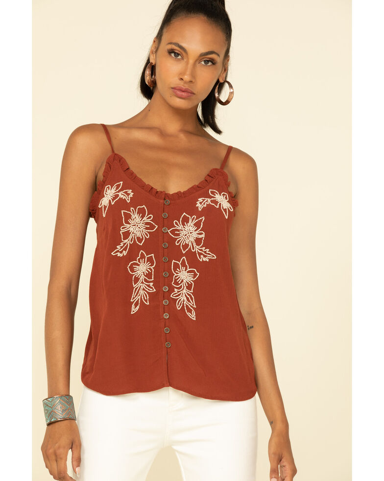 Shyanne Women's Rust Beaded Floral Cami , Rust Copper, hi-res