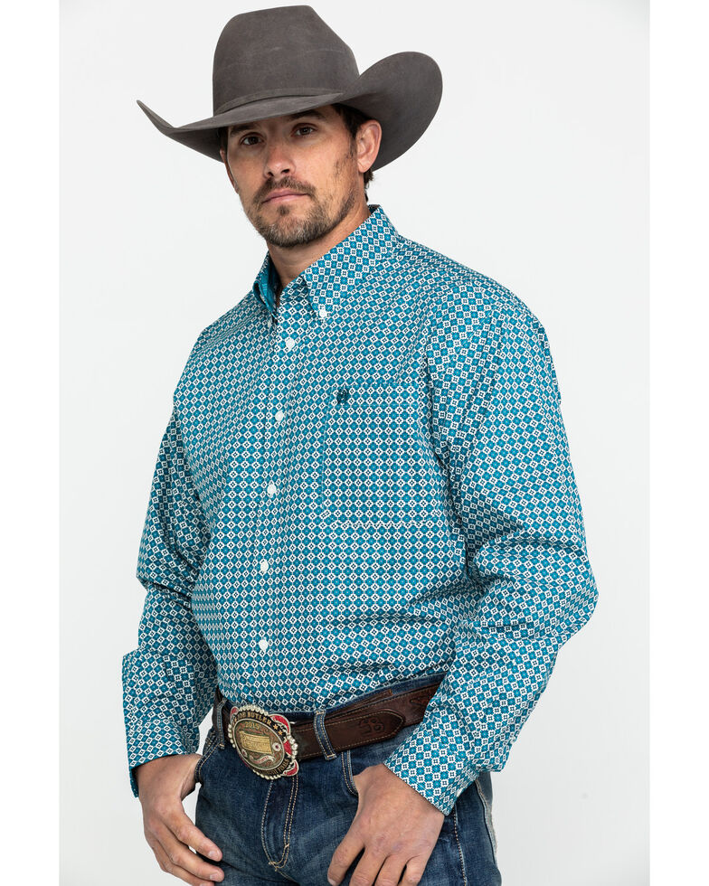 Cinch Men's Multi Geo Print Button Long Sleeve Western Shirt , Multi, hi-res