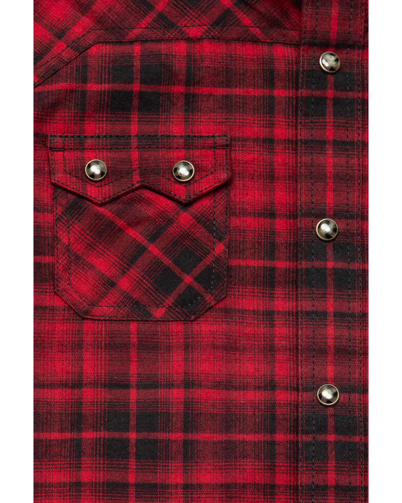 Ariat Boys' Forest Retro Snap Long Sleeve Western Flannel Shirt , Red, hi-res