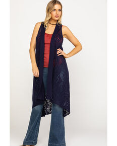 Ariat Women's Maxi Sweater Vest, Navy, hi-res
