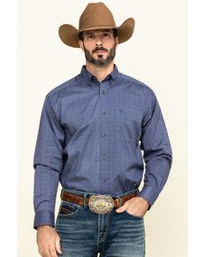 Ariat Men's Newcastle Floral Geo Print Long Sleeve Western Shirt - Big , Blue, hi-res