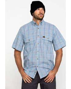Wrangler Riggs Men's Navy Plaid Short Sleeve Work Shirt , Navy, hi-res