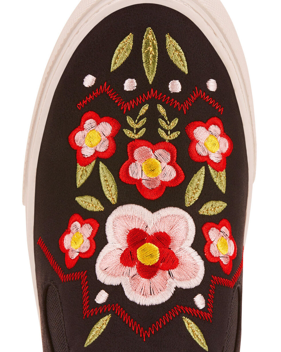 Ariat Women's Unbridled Paisley Floral Embroidered Slip On Shoes - Round Toe, Black, hi-res