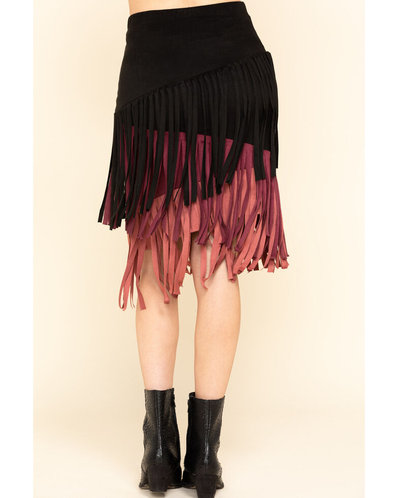 Chrysanthemum Women's Multi-Colored Fringe Skirt, Multi, hi-res