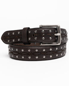 Moonshine Spirit Dark Brown Embroidered Barbed Wire Western Belt , Black, hi-res