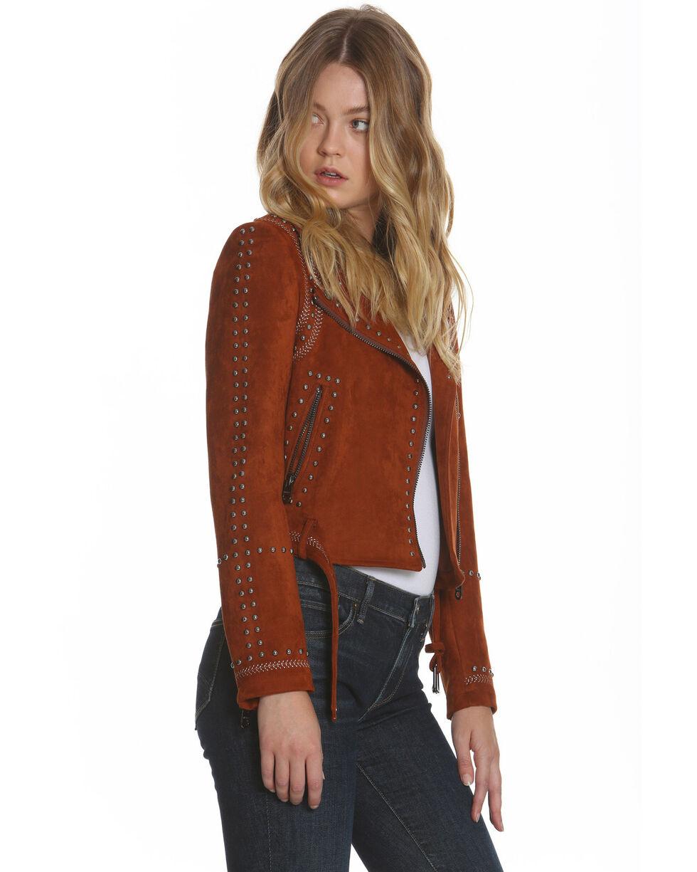 Driftwood Women's Faux Suede Studded Moto Jacket , Cognac, hi-res