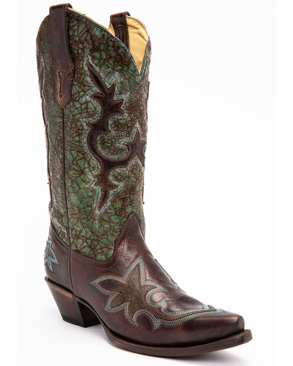 Corral Women's Multi-Colored Snip Toe Western Boots, Turquoise, hi-res