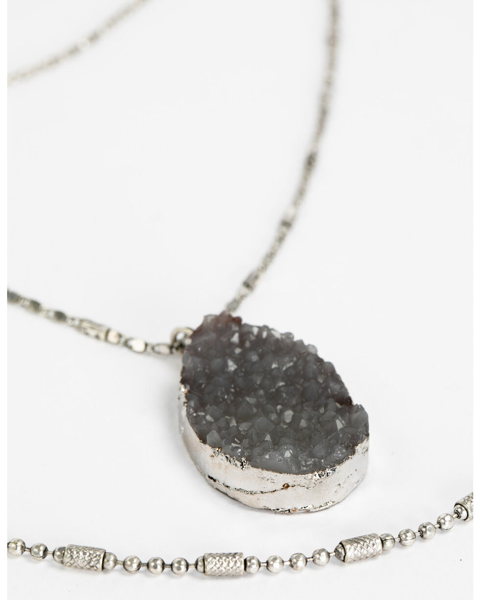 Shyanne Women's Slate Sparkle 4-Tiered Layered Druzy Necklace, Slate, hi-res
