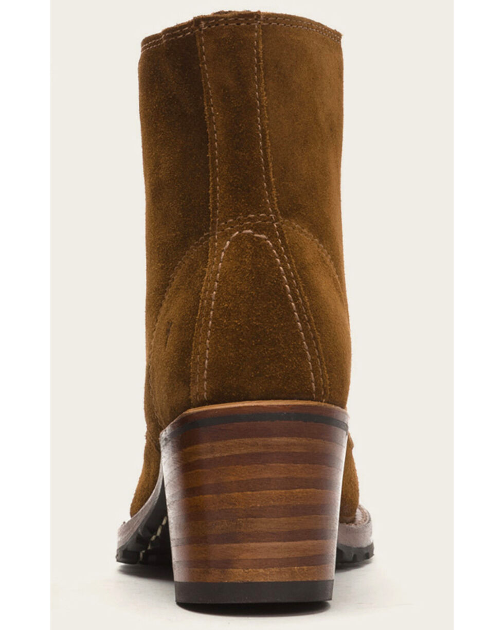 Frye Women's Light Brown Sabrina 6G Lace Up Booties - Round Toe , Lt Brown, hi-res