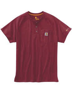 Carhartt Men's Force Short Sleeve Henley, Cognac, hi-res