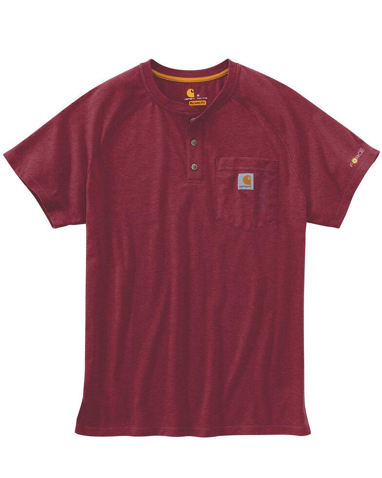 Carhartt Men's Force Short Sleeve Henley, Cognac, hi-res