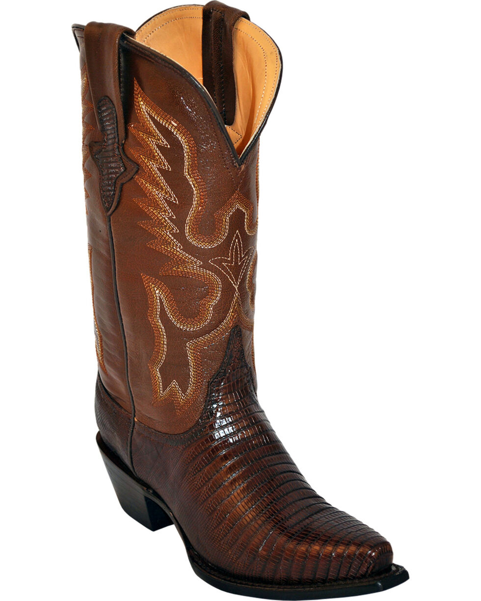 Ferrini Women's Teju Lizard Exotic Western Boots, Chocolate, hi-res