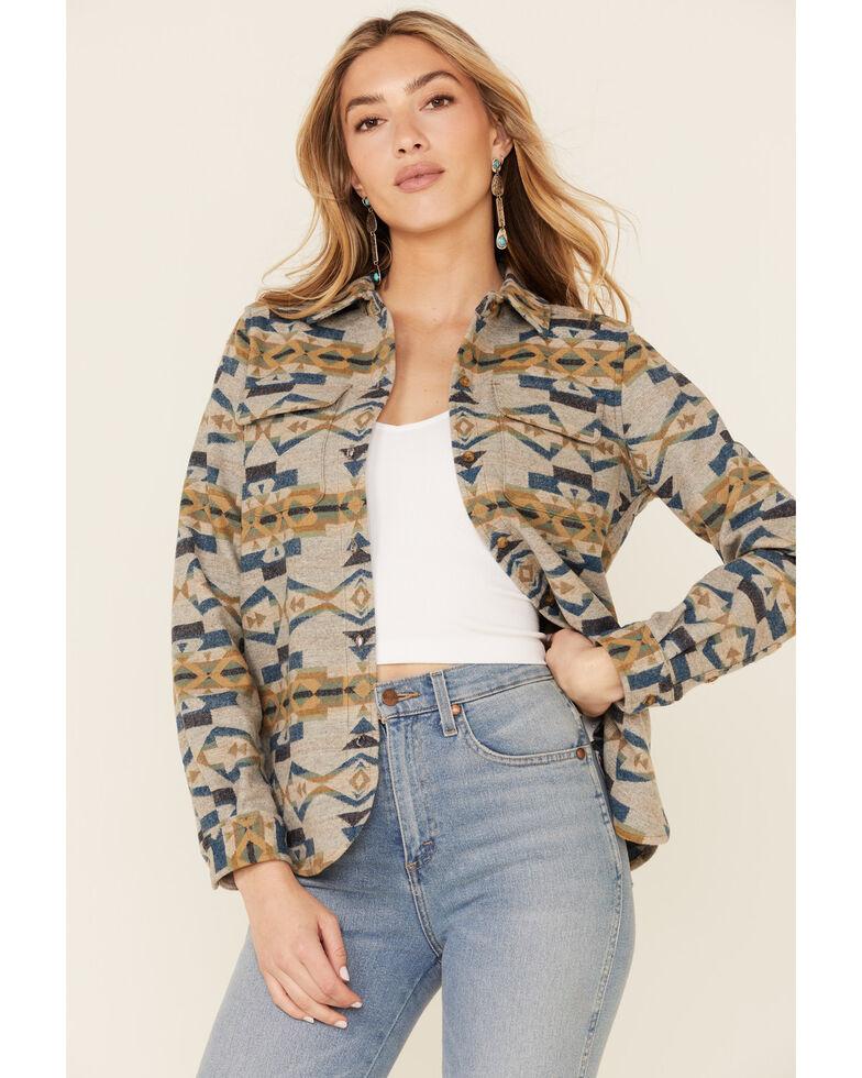 Pendleton Women's Tan Jacquard Board Plaid Long Sleeve Button Shirt Jacket , Tan, hi-res