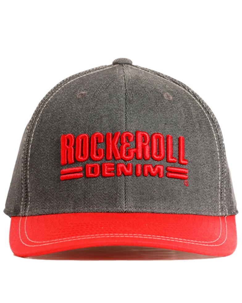 Rock & Roll Cowboy Men's Charcoal 3D Logo Cap , Red, hi-res