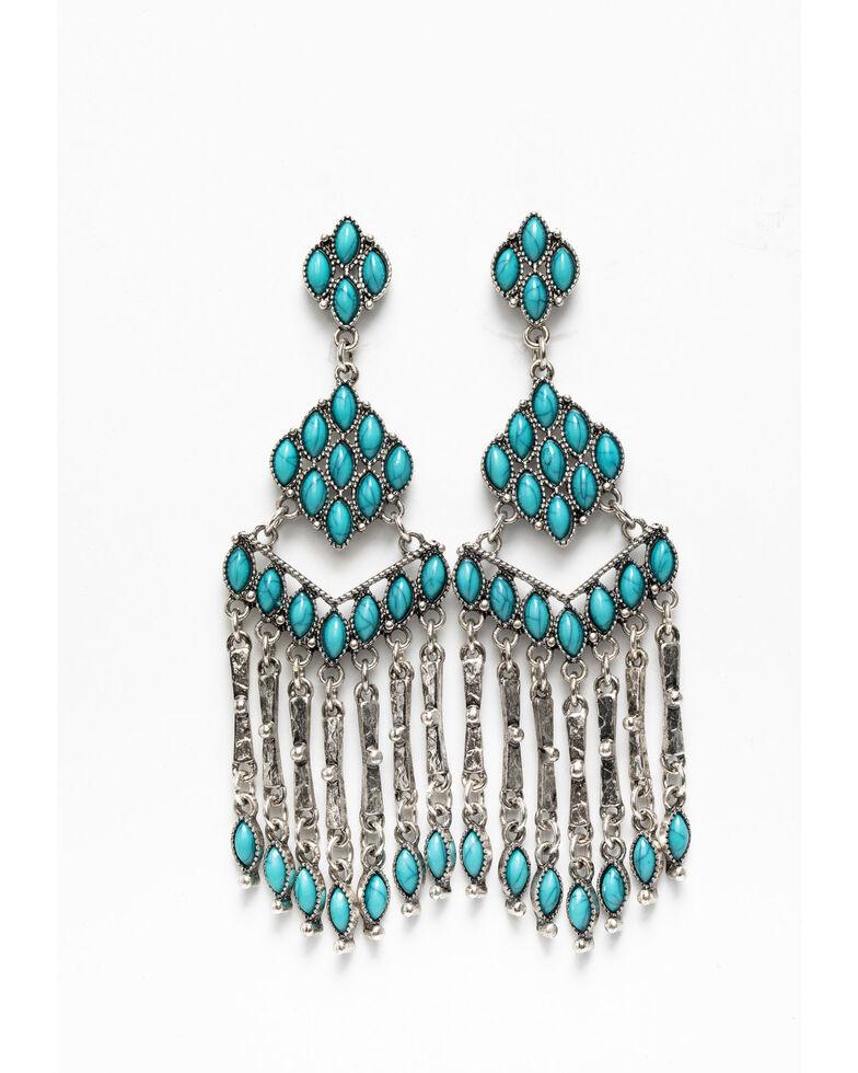 Shyanne Women's Blue Falls Fancy Turquoise Chandelier Earrings, Silver, hi-res