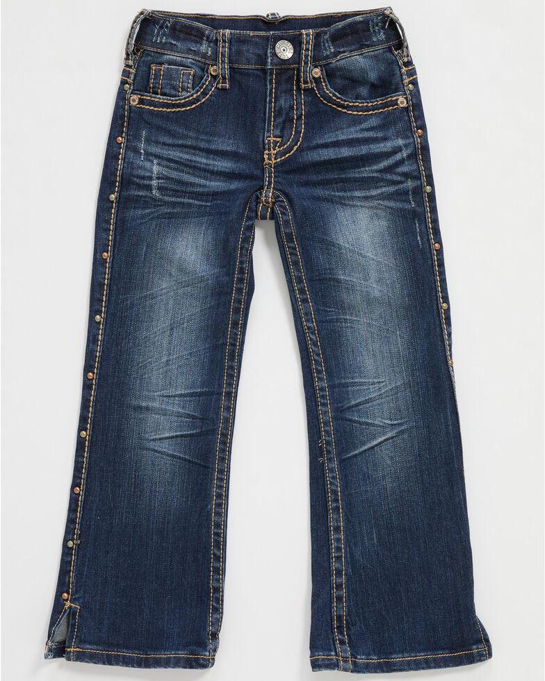 Cowgirl Tuff Girls' Medium Wash Studded Up Stretch Bootcut Jeans , Blue, hi-res