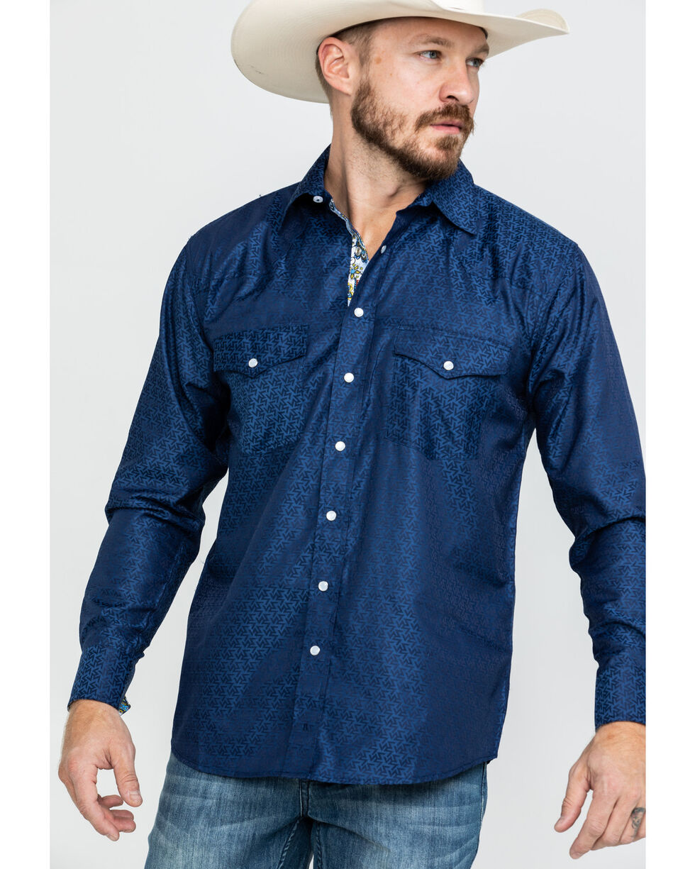 Resistol Men's Z Geo Print Long Sleeve Western Shirt , Navy, hi-res