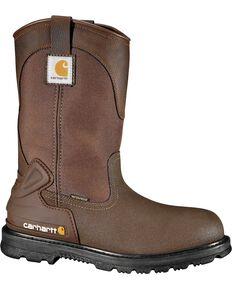 "Carhartt 11"" Bison Waterproof Mud Wellington Work Boots - Safety Toe, Brown, hi-res"