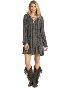 Rock & Roll Cowgirl Women's Aztec Lace Front Dress , Black, hi-res