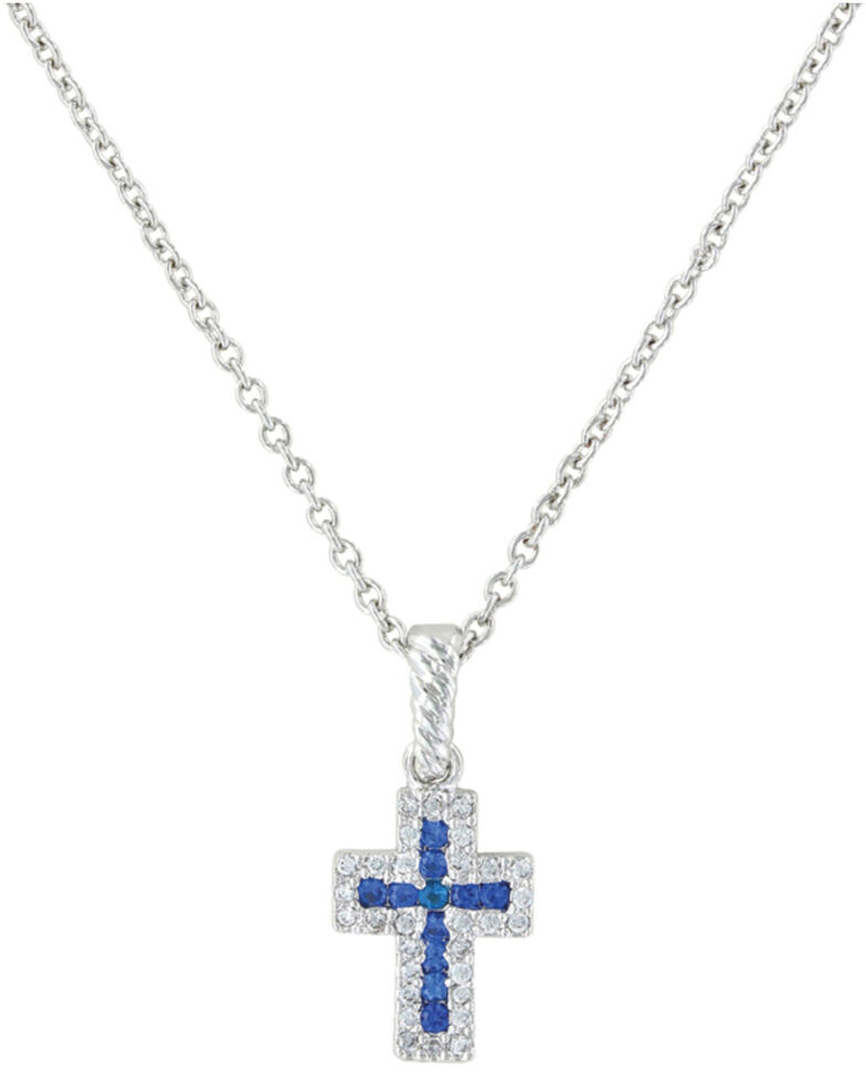 Montana Silversmiths Faith Found in the River Lights Cross Necklace, Silver, hi-res