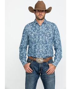 Wrangler Retro Men's Blue Paisley Print Long Sleeve Western Shirt - Tall , Blue, hi-res