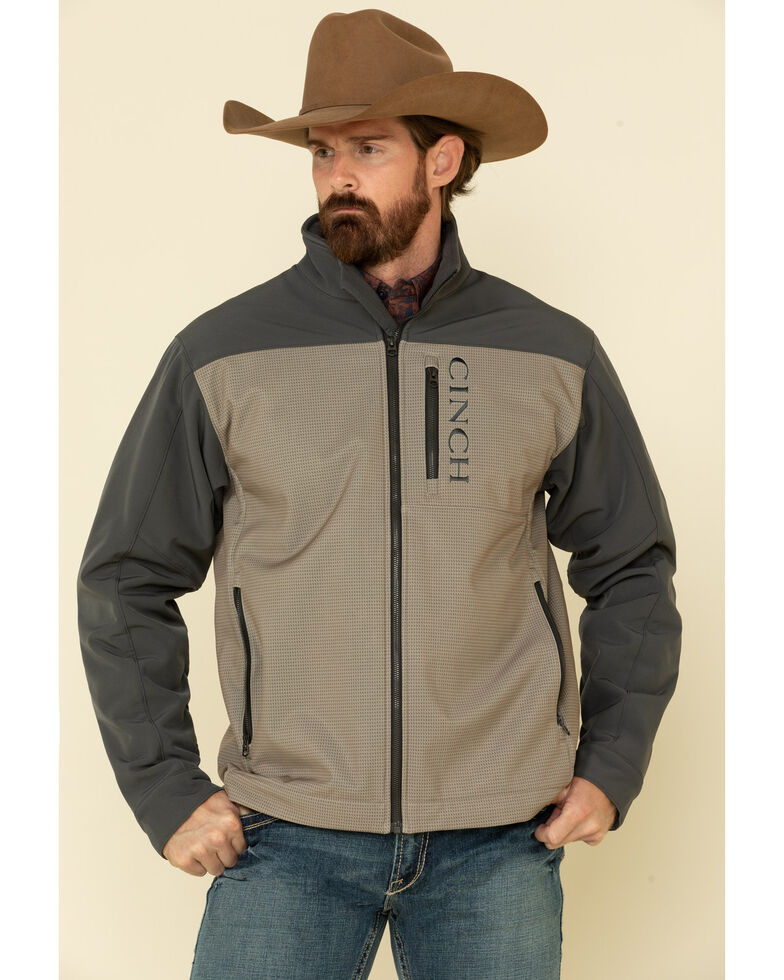 Cinch Men's Grey Colorblock Logo Zip-Front Bonded Jacket , Grey, hi-res