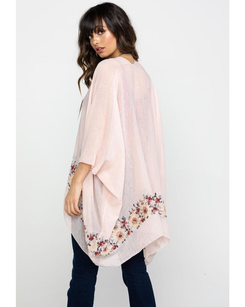 Shyanne Women's Floral Embroidered Trim Wrap, Light Pink, hi-res
