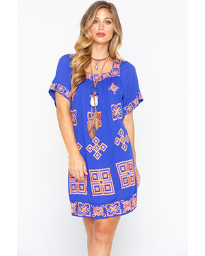 MI OH MI Women's Medallion Dress  , White, hi-res