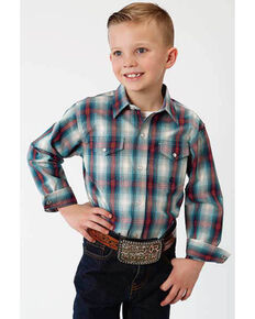 Amarillo Boys' Denim Ombre Plaid Long Sleeve Western Shirt , Blue, hi-res