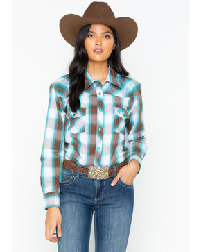 Cowboy Hardware Women's Plaid Western Snap Shirt , Brown, hi-res